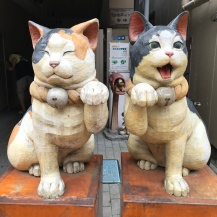 Yanaka Cat Town two cats greeting