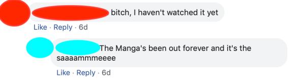 Anime community spoilers